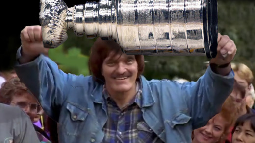 Ovechkin as Mr. Larson lifting the Cup